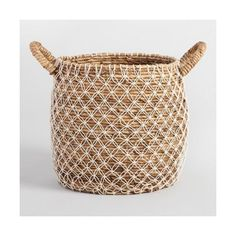 Large Macrame Seagrass Bianca Tote Basket ($40) via Polyvore featuring home, home decor, small item storage, handwoven baskets, grass basket, seagrass baskets, hand woven baskets and sea grass baskets