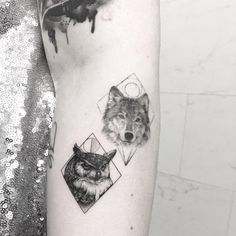 Animal collective fresh small owl & old wolf tattoo ideas on arm by Evan Weidner … – tattoos for women small Bff Tattoos, Couple Tattoos, Body Art Tattoos, Tattoos For Guys, Tatoos, Cute Owl Tattoo, Owl Tattoo Small, Sleeve Tattoos For Women, Tattoos For Women Small