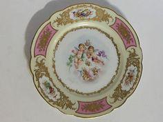 Antique 18th C. Sevres Cabinet Plate - Cartouche - Putti - Ca.1777 - Gilded -