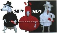 Homemade Spy vs Spy Dog Costumes... This website is the Pinterest of pet halloween costumes