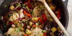 Kip uit het pannetje met spekjes, paprika en ananas