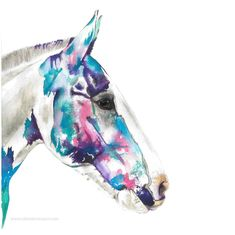 Commissioned horse painting in blues, pink, purple and greens colour palette Dog Artist, Chloe Brown, Watercolor Horse, Horse Artwork, Green Colour Palette, Brown Art, Contemporary Artwork, Equine Art, Pet Portraits