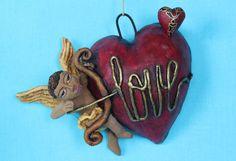 Cupid bow & arrow LOVE Heart, Love Token Pottery Mexican Folk Art Jose Aguilar