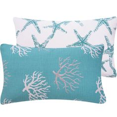 """Coral and Star Fish 12x20"""" Lumbar Decorative Pillow Cover, Premier Prints, Throw Pillow, Wonders of the Seas Turquoise Collection on Etsy, $21.00"""