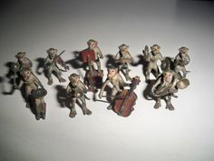 Antique Austria Bergmann Bronze Miniature Painted 10 Piece Monkey Orchestra Rare