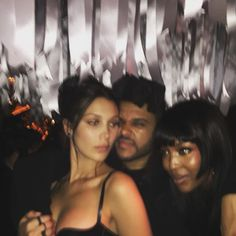 "Abel Tesfaye ""The Weeknd"" and Bella Hadid at the Met Gala after party 2016 with Naomi Campbell."