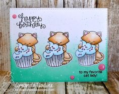 Cat and cupcake Birthday card by Amanda Bodine | Newton Loves Cake Stamp Set by Newton's Nook Designs