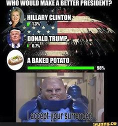 Although i agree that the potato would make a better president, Trump looks like he's in more of a lead than Hillary in the real world