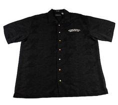 Sierra Nevada Black Palm Tree Print Hawaiian Shirt Mens Size Large