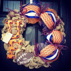 UF Florida Gators Burlap wreath // Blue // Orange // Chevron // Polka dot // Football on Etsy, $93.00