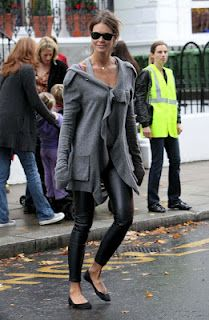 Elle McPherson loves grey +leather