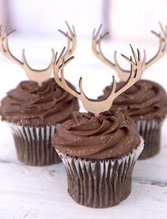 Cupcake Toppers Wooden Antlers Hunting or Boho Style Rustic Wood Deer Cake…