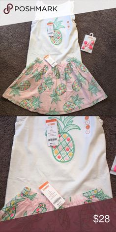 Gymboree skirt, tank, and hair clips NWT sz 8 Gymboree Island Cruise size 8 Three piece set tank, skirt and hair clips included. Smoke free pet free home new with tags . Also have in a size 7 sister set in another listing. That's why picture shows size 7 Gymboree Dresses