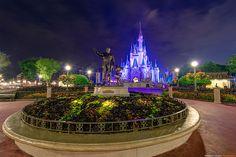 Magic Kingdom Walt Disney World.  Cinderella's Castle and Partner's Statue
