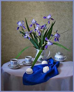 Iris morning by Daykiney Still Life Photos, Photo Art, Glass Vase, Deviantart, Table Decorations, Gallery, Artist, Furniture, Home Decor