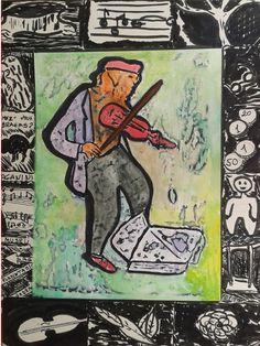 Inspirada em Alechinski O violinista russo no parque (Russian fiddler in the park) Técnica mista sobre  papel Canson (0,60 x 0,42)