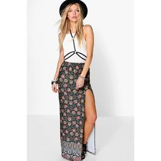 Boohoo Hope Bohemian Border Print Maxi Skirt ($16) ❤ liked on Polyvore featuring skirts, multi, pleated midi skirt, maxi skirt, long skirts, white pleated skirt and boho maxi skirt