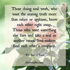 Those doing soul work, who want the searing truth more than solace or applause, know each other right away.  Those who want something else turn and take a seat in another room.  Soul-makers find each other's company.  <3 More magnificent quotes here: https://www.facebook.com/LoveSexIntelligence <3  #inspiration #rumi #literature