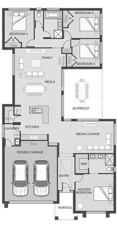 House Plan Good Plan for a family your size media area could be daycare instead.