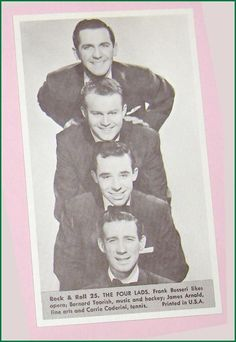 The Four Lads  Number 25  Collectible Rock and Roll  Arcade or Exhibit Card