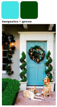 I always loved turquoise front doors, but could never picture it decorated for Christmas.  Well, here you go...