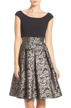 Eliza J Ponte & Metallic Jacquard Fit & Flare Dress available at #Nordstrom