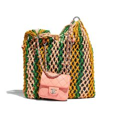 Handbags of the Spring-Summer 2019 CHANEL Fashion collection : Large Tote, mixed fibres, lambskin & silver-tone metal, green, orange & pink on the CHANEL official website. Chanel Handbags, Fashion Handbags, Fashion Bags, Women's Handbags, Women's Fashion, Fashion Outfits, Satchel, Crossbody Bag, Tote Bag