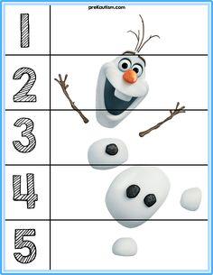 Puzzles for basic number sense. Frozen Activities, Disney Activities, Snow Activities, Autism Activities, Toddler Learning Activities, Preschool Puzzles, Counting Puzzles, Number Puzzles, Free Preschool