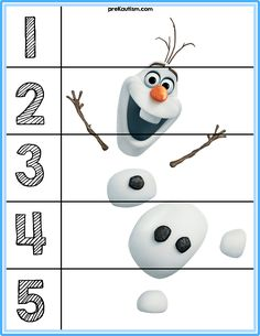 Free printable activities with familiar characters to help introduce numbers to children with autism. If you don't know where to start when helping a child with autism, then start with play. Once you can play with your child, add language targets. With this simple puzzle your child can build one of their favorite characters while being exposed to basic numbers. #education #autism #frozen #homeschool