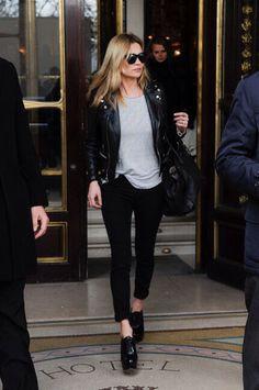 Kate Moss in leather stripes #style #fashion #model MK!! $61.99 http://michael-kors.de.pn