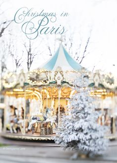 Christmas in Paris by Georgianna Lane: Carousel and flocked trees on the Champs-Élysées UPDATE: I will be spending Christmas in Paris this year Christmas In Paris, French Christmas, Noel Christmas, Xmas, Europe Christmas, Christmas Travel, Christmas Markets, Christmas Scenes, Paris Photography