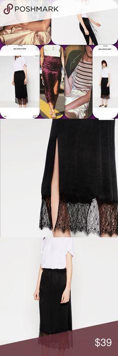 Zara Satinated skirt 2016 flowy ,hot fashion ! Satinated finish , elastic on waist , lace trimm   on bottom hem , lined , sides pockets , very trendy 2016 , Zara Skirts Midi
