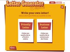 Friendly Letter Format Generator. Letter Writing Generator  A sample letter is included and students can learn about the parts of a by reading descriptions each part friendly Homeshool for Young Kids Pinterest