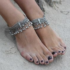 Buy Silver Chain Antique Anklet Pair online, Latest Silver Chain Antique Anklet…