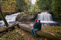 """My wife and I at """"Big Falls"""" on the Huron River Michigan Waterfalls, Framed Art Prints, Fine Art Prints, Waterfall Photo, State Of Michigan, Beautiful Waterfalls, Canvas Frame, River, Big"""