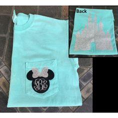 Minnie Mouse Glitter Monogram Comfort Colors T-Shirt Monogram Disney... ($24) ❤ liked on Polyvore featuring tops, t-shirts, short sleeve tee, short sleeve shirts, monogrammed shirts, disney t shirts and short sleeve t shirt