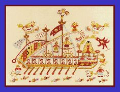 Greek Design, Folklore, Needlepoint, Boats, Greece, Textiles, Tapestry, Traditional, Embroidery