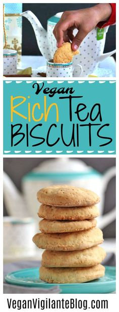 These Vegan Rich Tea Biscuits are the perfect addition to a lovely afternoon tea and will make dunkers out of non-dunkers, any day of the week! Vegan Sweets, Vegan Desserts, Dessert Recipes, Dinner Recipes, Mini Desserts, Vegan Snacks, Vegan Food, Fall Recipes, Whole Food Recipes