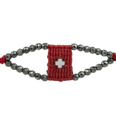 Macrame red bracelet, semi precious grey stones and rhodium plated cross