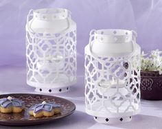 """Skylights"" white, Openwork Mini Lantern - by Kate Aspen"
