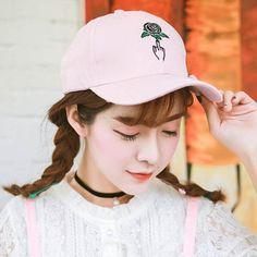 Fresh pink baseball cap girls rose flower Embroidered baseball caps for summer