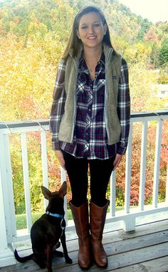 Comfort! Top: LL Bean flannel button up  Vest: Patagonia   Leggings: Old Navy  Boots: Target- IF only I still lived in the NW, this would be everyday apparel.