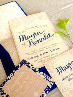 Invitaciones de estilo romántico  #weddingbranding #invitacionesdebodas #bodasvintage #bodasoriginales #invitacionesbodas #rosequarze  #navy