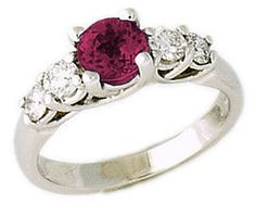 ApplesofGold.com - 5 Stone Ruby and Diamond Ring, 14K White Gold Gemstone Jewelry $1,039.00