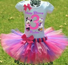 A beautiful, custom birthday tutu outfit fit for any princess! This Minnie Mouse and Daisy Duck tutu outfit is perfect for any Minnies