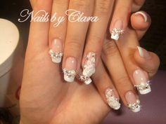 French Tip with Diamonte and Flowers
