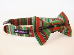 Christmas Dog Collar Bow Tie Set Merry by CollarMeCharming on Etsy, $24.95