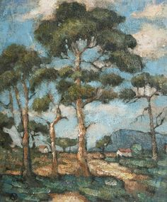 Nita Spilhaus (South African painter) 1878 - 1967 Trees in Summer, s.d. oil on canvas laid to board 29 x 24.5 cm. (11.44 x 9.63 in.) signed with monogram (lower left)