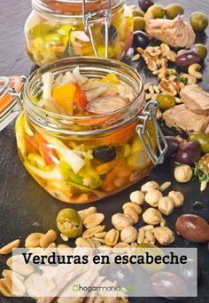 Receta de Verduras en escabeche Chutney, Pickles, Dressing, Healthy Recipes, Canning, Chicken, Meat, Canning Recipes, Dressings