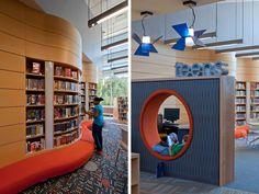 Most of the teen book collection occupies the wave wall, which has seating built in to encourage teens to stay and get lost in a book. An adjacent lounge with vending machines allows teens to socialize without bothering other patrons.